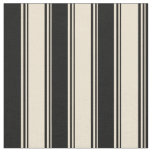 [ Thumbnail: Beige and Black Colored Striped Pattern Fabric ]