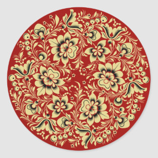Beige and Black Hohloma on Red Round Sticker