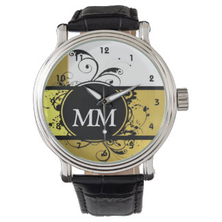 Beige and black monogram on white watches