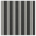 [ Thumbnail: Beige and Black Striped Pattern Fabric ]