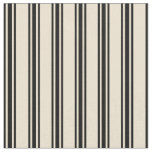 [ Thumbnail: Beige and Black Stripes/Lines Pattern Fabric ]