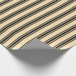 [ Thumbnail: Beige and Black Stripes/Lines Pattern Wrapping Paper ]