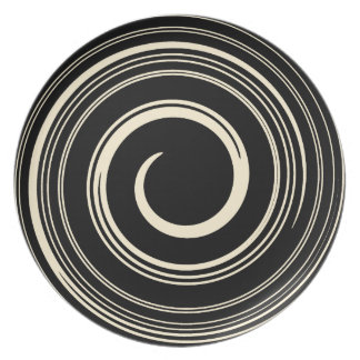 Beige and Black Swirls Dinner Plate