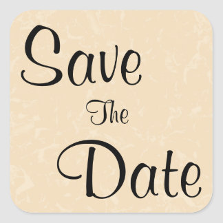 Beige and Black with Subtle Pattern Save The Date Square Sticker
