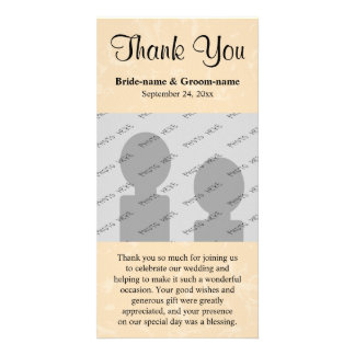 Beige and Black with Subtle Pattern Wedding Card