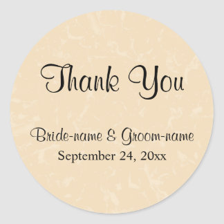 Beige and Black with Subtle Pattern Wedding Classic Round Sticker