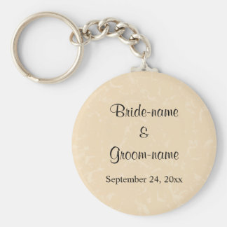 Beige and Black with Subtle Pattern Wedding Keychain