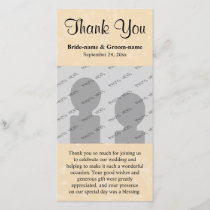 Beige and Black with Subtle Pattern Wedding Thank You Card