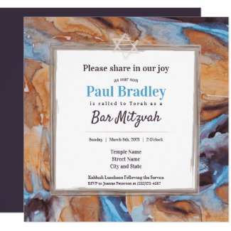 Beige and Blue Bar Mitzvah Invitation