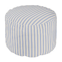 Beige and Blue Classic Ticking Stripes Pouf