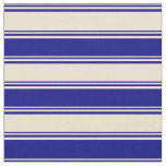 [ Thumbnail: Beige and Blue Colored Lined Pattern Fabric ]