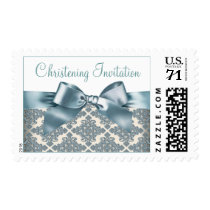 Beige and Blue Damask Baby Christening Postage