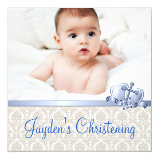 Beige and Blue Damask Boys Photo Christening Card