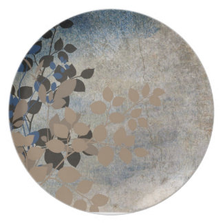 Beige and Blue Leafy Plate