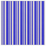[ Thumbnail: Beige and Blue Lined/Striped Pattern Fabric ]