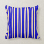 [ Thumbnail: Beige and Blue Lined/Striped Pattern Throw Pillow ]