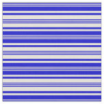 [ Thumbnail: Beige and Blue Striped Pattern Fabric ]