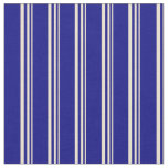 [ Thumbnail: Beige and Blue Stripes Pattern Fabric ]