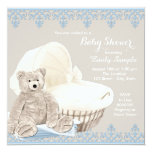 Beige and Blue Teddy Bear Baby Shower Personalized Invitation