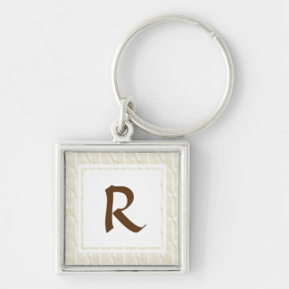Beige and Brown Abstract Pattern Monogram Keychain