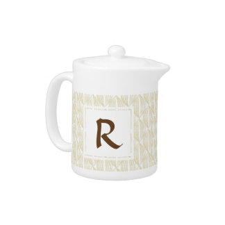 Beige and Brown Abstract Pattern Monogram Teapot