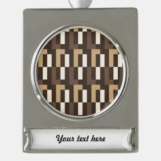 Beige and brown art deco silver plated banner ornament