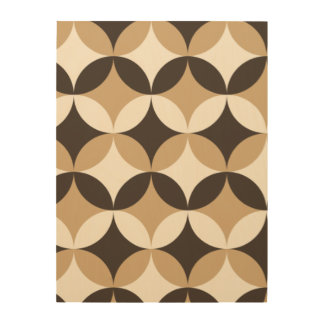 Beige and brown circles wood wall art