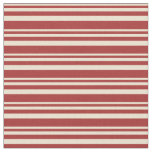 [ Thumbnail: Beige and Brown Colored Lines Pattern Fabric ]