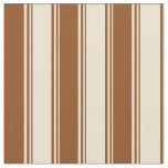 [ Thumbnail: Beige and Brown Colored Striped Pattern Fabric ]