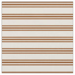 [ Thumbnail: Beige and Brown Colored Stripes/Lines Pattern Fabric ]