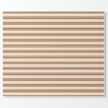 [ Thumbnail: Beige and Brown Colored Stripes/Lines Pattern Wrapping Paper ]