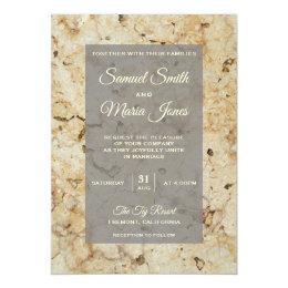Beige and Brown Granite Marble Wedding Invitation