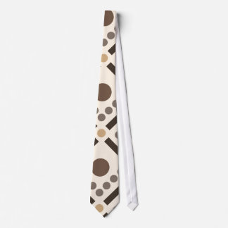 Beige and brown lines and dots tie