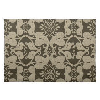 Beige And Brown Modern Elegant Leaf Pattern Cloth Placemat