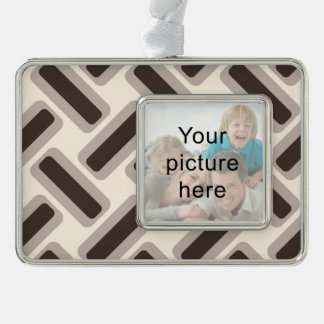 Beige and brown rectangles christmas ornament