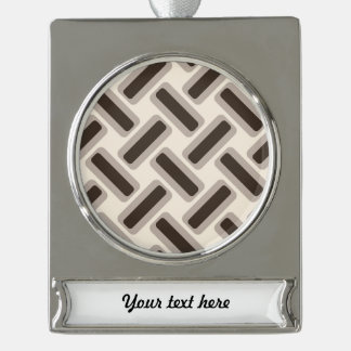 Beige and brown rectangles silver plated banner ornament