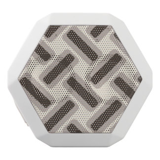 Beige and brown rectangles white bluetooth speaker