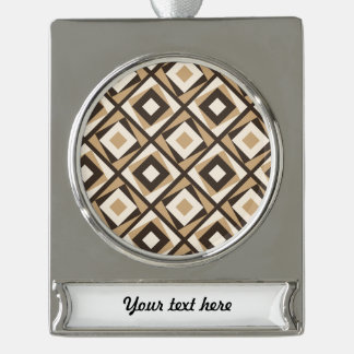 Beige and brown square diamonds silver plated banner ornament