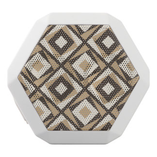 Beige and brown square diamonds white bluetooth speaker