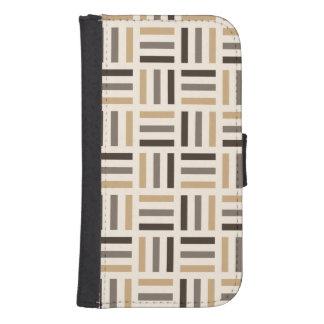 Beige and brown stripes samsung s4 wallet case