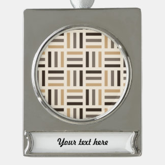 Beige and brown stripes silver plated banner ornament
