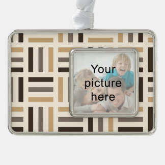 Beige and brown stripes silver plated framed ornament