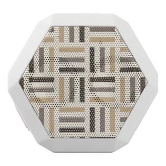Beige and brown stripes white bluetooth speaker
