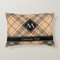 Beige and Brown Tartan Accent Pillow