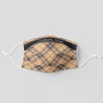 Beige and Brown Tartan Adult Cloth Face Mask