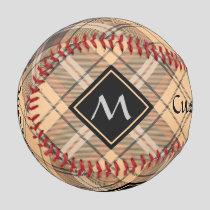 Beige and Brown Tartan Baseball