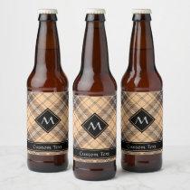 Beige and Brown Tartan Beer Bottle Label