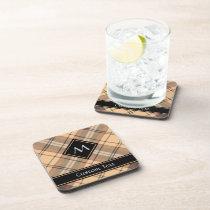 Beige and Brown Tartan Beverage Coaster