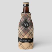 Beige and Brown Tartan Bottle Cooler