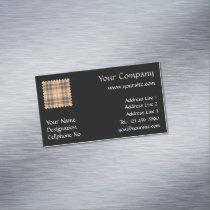 Beige and Brown Tartan Business Card Magnet
